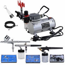 3 Airbrush Compressor Dual action Spray Complete Tattoo Nail Art Air Brush Set $93.90