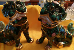 Herend Black Dynasty SN Matching Pair For Dogs Huge and Fabulous