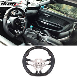 Fits 15-17 Ford Mustang Carbon Fiber W Real Leather Steering Wheel Black $399.00