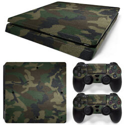 PS4 Slim Green Camo Console & 2 Controllers Decal Vinyl Art Skin Wrap