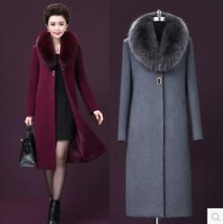 Winter Lady Cashmere Wool Blend Trench Overcoat Lapel Collar Large Sz Coat long