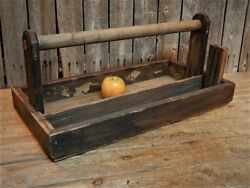 Antique Primitive Rustic Carpenter's Wooden Tool Box Caddy Tote Farmhouse