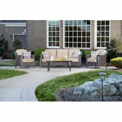 Outdoor Furniture Set 4 Piece Wicker Couch Table Sofa Patio Garden Lawn Yard 4Pc