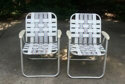Vtg 2 ALUMINUM Metal Folding Lawn Chair Webbing Party Patio Camp Beach