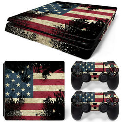 PS4 Slim American Flag Console & 2 Controllers Decal Vinyl Art Skin Wrap Sticker