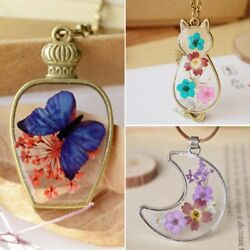 Natural Dried Flower Butterfly Moon Bottle Glass Pendant Necklace Women Jewelry
