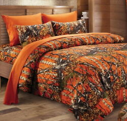 ORANGE CAMO 1pc Full Queen COMFORTER : BROWN CAMOUFLAGE WOODS CABIN TREE HUNTING