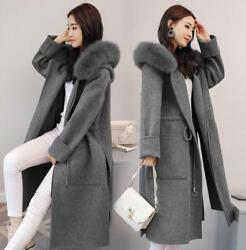Womens Wool Hooded Fox Fur Collar Cashmere Winter Long Jackets Overcoat Coats sz