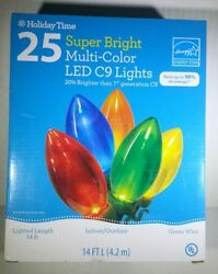 NEW Holiday Party 25 LED C9 Christmas Lights Super Bright Multi Color 14 ft $19.88