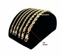 Mens Rope Chain Necklace Bracelet 2mm to 6mm 14k Gold Plated 8 9 20 24 30