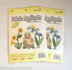 2 NEW GARDEN KITTY CABIN FEVER FABRIC APPLIQUES IRON ON APPLIQUE KIT