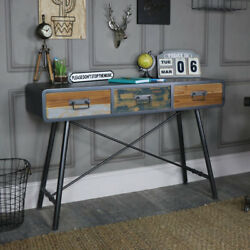 Large rustic console table retro industrial weathered reclaimed wooden furniture