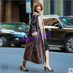 Women Winter 100% Wool Leather Warm Thick Fur Cashmere Long Coat Parka Overcoat