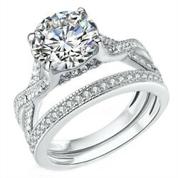 Wedding Ring Set Engagement Sterling Silver 2.75 CT Cubic Zirconia Infinity Ring