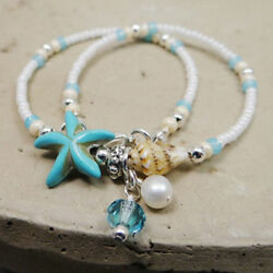 Boho Shell Starfish Anklet Pearl Beads Beach Conch Chain Ankle Bracelet Jewelry