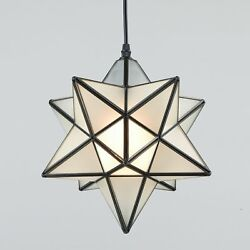 Moroccan Moravian Star 12quot; Frosted Glass Pendant Foyer Kitchen Ceiling Light $109.00