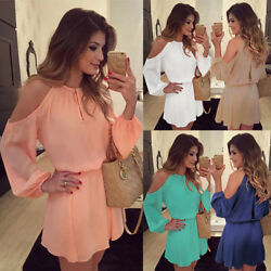 Sexy Women Cold Shoulder Evening Cocktail Chiffon Dress Sundress Candy Color C $19.67