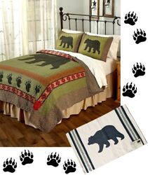 4pc Rustic Cabin Lodge BLACK BEAR PAW Wildlife Southwestern King Quilt Set +RUG
