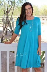PLUS SIZE TURQUOISE PLEATED BOHO BABYDOLL 34 SLEEVE MINI DRESS 1X 2X 3X USA $26.95