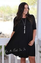 PLUS SIZE SOLID BLACK PLEATED BOHO BABYDOLL 34 SLEEVE MINI DRESS 1X 2X 3X USA $26.95