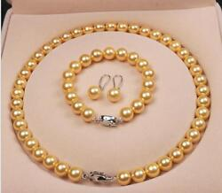 AAA+ 10MM Gold SOUTH SEA SHELL PEARL NECKLACE 18