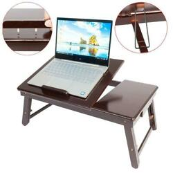 Wood Folding Lap Desk Tray Table Drawer Bed Food Laptop TV Notebook Brown Color $23.59