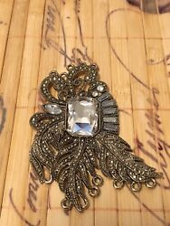 Fancy Vintage Pendant Ladies Womens Rhinestone Bling Antique Victorian Era Style $19.99