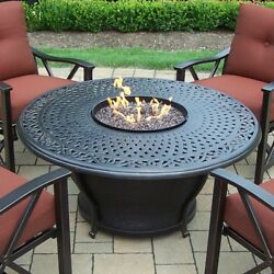 Oakland Living Charleston Aluminum Gas Fire Pit Table and Chairs