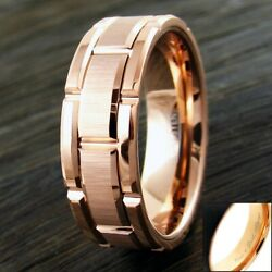 8mm Rose Gold Tungsten Men's Ring Brushed Grooved Wedding Band-Engraving Avail.