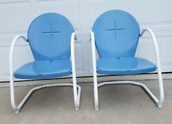 Retro Metal Lawn Porch Patio Deck Furniture - 2 Chairs Blue Preowned