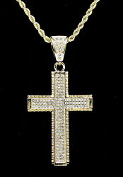 Cross Pendant 14k Gold Plated Cz 24quot; Rope Chain Hip Hop Necklace $14.99