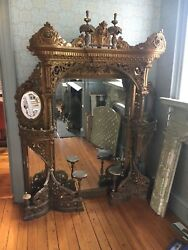 ABSOLUTELY breathtaking c1890 New Orleans looking glass bar back mirror 78