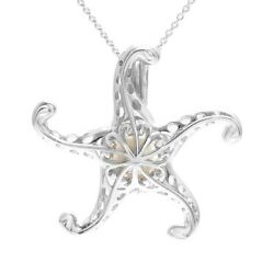 925 Sterling Silver Fancy Starfish Pearl Cage Pendant & Necklace