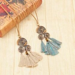 Bohemia Women Boho Spiral Tassel Pendant Necklace Long Sweater Chain Jewelry