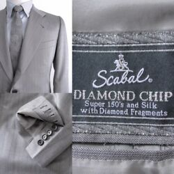 6900€ Scabal Made to Measure Suit Wool 150´s-Silk-Diamond Chip Sz.US36 - IT46
