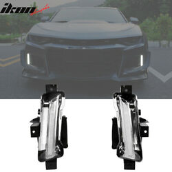 Fits 16-18 Chevy Camaro ZL1 DRL Fog Lights Clear w Amber Switchback Signal 2Pc