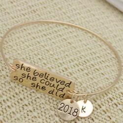 SHE BELIEVED SHE COULD SO SHE DID 2018 k bracelet CANCER FIGHTERS GRADUATES