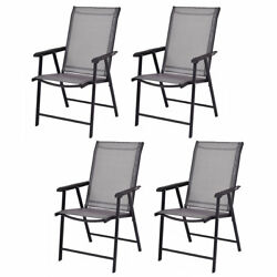 Costway Camping Deck Garden Plastic Folding Chair Set of 4