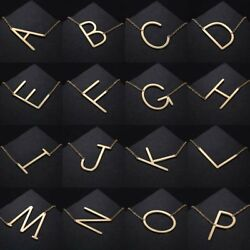 GoldSilver Stainless Steel Large Alphabet Initial Pendant Necklace Jewelry Gift