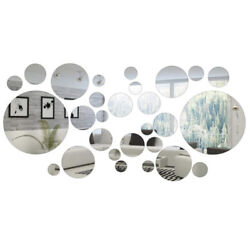 32Pcs set Round Circle Mirror Setting Wall Sticker Decal Home Art Modern Decor $10.86
