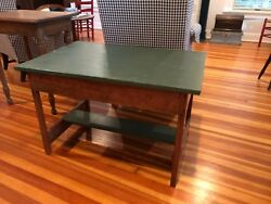antique table coffee table green top $150.00