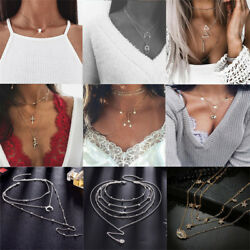 1pcs Vintage Women Multilayer Gold Silver Plated Pendant Choker Chain Necklaces