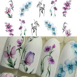 3Sheets Flower Butterfly Nail Art Water Transfer Decals Purple Stickers Decor B $1.69