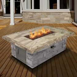 Cal Flame Cultured Stone Dining Steel Propane Fire Pit Table FMN1139