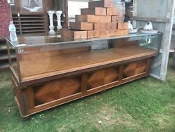c1920 mahogany glass top jewelry store counter cabinet 99