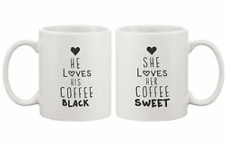 2 Piece He Loves His Coffee Black & She Loves Her Coffee Sweet Couple Ma