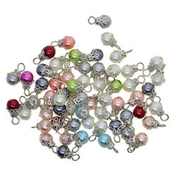 50x Pearl Filigree Flower Charms Pendant for Jewelry Making DIY Earrings $6.77