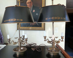 2 Vintage Pair Empire Style Brass Swans Bouillotte LAMPS Adjustable Metal Shades $2,460.00