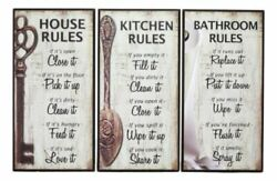 Country Wood Our Family Rules Wall Art Wooden Signs Decor Kitchen House Bathroom