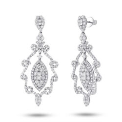 7.30 CT 18K White Gold Round Cut Natural Diamond Chandelier Earrings Drop Dangle